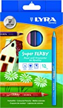LYRA Super Ferby Lacquered Triangular Giant Colored Pencils, 6.25 Millimeter Lead Core, Set of 12 Pencils, Assorted Colors (3721120)