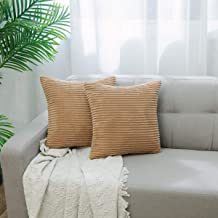 NATUS WEAVER 2 Pack Decor Supersoft Striped Textured Velvet Corduroy Decorative Throw Toss Pillowcase Cushion Cover for Chair, Taupe, 20 inch