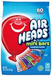 Airheads 80 Mini Bars, Chewy Fun Taffy Candy, Assorted Fruit Flavors, Back to School for Kids, Non M