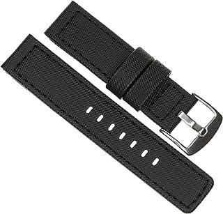20mm MARATAC Elite Series Black PVC Rubber Strap Diver Watch Band Black Stitch Kevlar X1