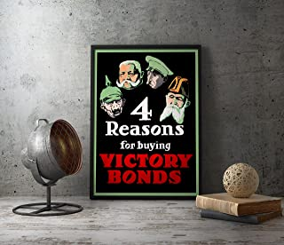 UpCrafts Studio Design WW1 Propaganda Poster - Size 8.3 x 11.7-4 Reasons for Buying Victory Bonds - WW1 Reproduction Replica WWI Military Art Prints - Militaria Wall Art Decor for Home, for Office
