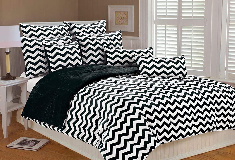 San Long Beach Mall Francisco Mall MARLO LORENZ 4892 Chevron Microplush White Comforter Black Set