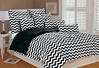 MARLO LORENZ 4892Chevron Microplush Comforter Set, Negro, Matrimonio