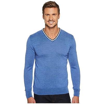 Dale of Norway Kristian Sweater (H-Medium Blue Melange/Light Grey/Off-White Melange/Navy Melange) Men