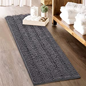 KGORGE Grey Bath Mat - Soft Large Bathroom Rugs Thick Shaggy Floor Cover Water Absorbent Quick Drying Shower Carpet for Toilet Door Way Kitchen, 60