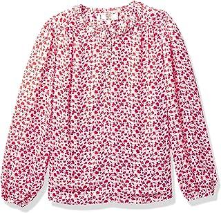 Dear Drew by Drew Barrymore Womens DDMJWE3005 Rivington St Heart Jacquard Blouse Long Sleeve Blouse