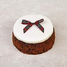 Cakeology Co. Bakery - Pastel de regalo de 14 cm en lata - Pastel de frutas con brandy, decorado a mano con mazapán, glaseado y un lazo de tartán, 785 g