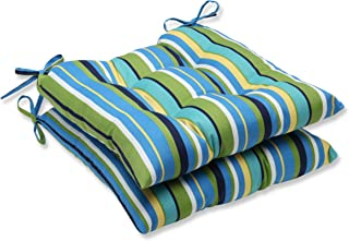 Pillow Perfect Outdoor Topanga Stripe Lagoon Wrought Iron Seat Cushion, Set of 2