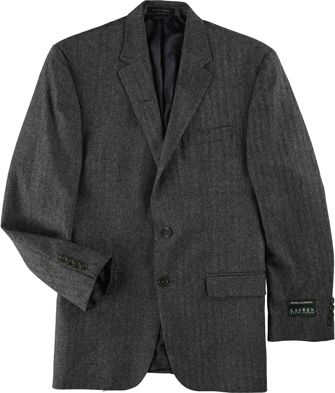Ralph Lauren Mens Cashmere-Blend Two Button Blazer Jacket, Grey, 40 Regular