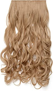 """OneDor 20"""" Curly 3/4 Full Head Synthetic Hair Extensions Clip on/in Hairpieces 5 Clips 140g (27/60)"""