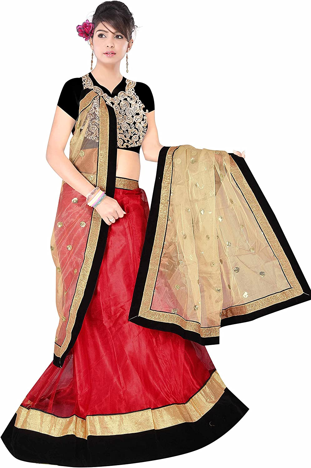 Dancing Girl Red Net Embroidered Party Wear Semistitched Lehenga Choli