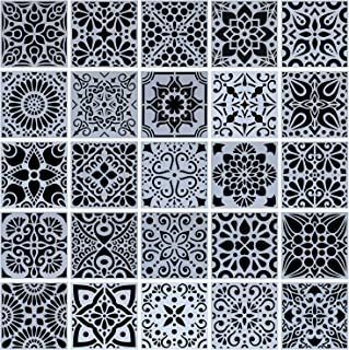 25-Pack (4x4 Inch) Painting Drawing Stencils Mandala Template for Stones Floor Wall Tile Fabric Wood Burning Art&Craft Supplies -reuseable