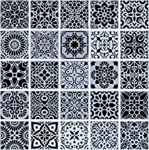 25-Pack (4x4 Inch) Painting Drawing Stencils Mandala Template for Stones Floor Wall Tile Fabric Wood Burning Art&Craft Sup...
