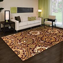 Superior Designer Augusta Collection Area Rug, 8mm Pile Height with Jute Backing, Beautiful Floral Scalloped Pattern, Anti-Static, Water-Repellent Rugs - Red, 4' x 6' Rug