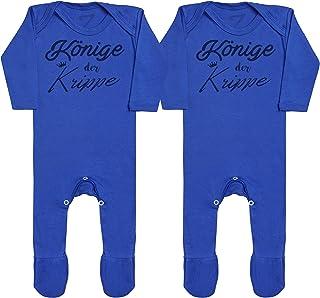 Zarlivia Clothing Könige der Krippe Baby Zwillinge Jungen Strampler, Baby Zwillinge Mädchen Strampler, Strampelanzug, Baby Zwillinge Strampler