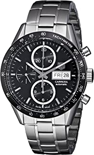 Men's 'Carrera' Black Dial Stainless Steel Chronograph Watch CV201AG.BA0725