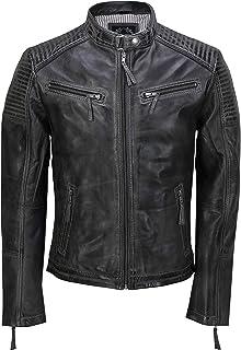 Mens Real Leather Jacket Antique Washed Retro Vintage Style Biker Smart Casual Slim Fit Bomber