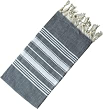 Dandelion - Basic Pattern - Naturally-Dyed Cotton Turkish Towel Peshtemal - 71x39 Inches - Black