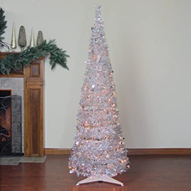 Northlight 6' Pre-Lit Silver Tinsel Pop-Up Artificial Christmas Tree - Clear Lights