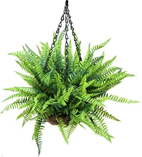 Ivalue Hanging Flower Basket with 6PCS Artificial Greenery Shrubs and Bushes for Indoor Outdoor Decoration