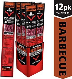 Jack Link's Premium Cuts Beef Steak, BBQ Recipe, 2 oz., 12 Count – Great Protein Snack with 16g of Protein and 13g of Carbs per Serving, Made with 100% Premium Beef