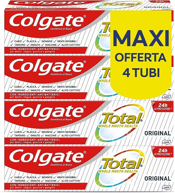 294 opinioni per Colgate Dentifricio con Ingredienti Antibatterici Total Original, 24h di