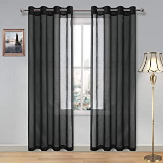 DWCN Sheer Curtains Faux Linen Grommet Window Curtain Voile Sheer Drapes for Living Room Set of 2 Gray Panels 52 x 90 Inch Long, Black