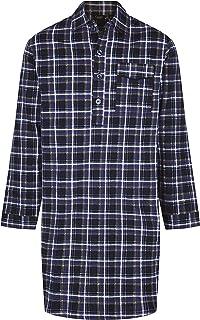 Harvey James Mens Brushed Cotton Flannel Nightshirt Pyjama, Sizes M-XXL, Navy OR Grey