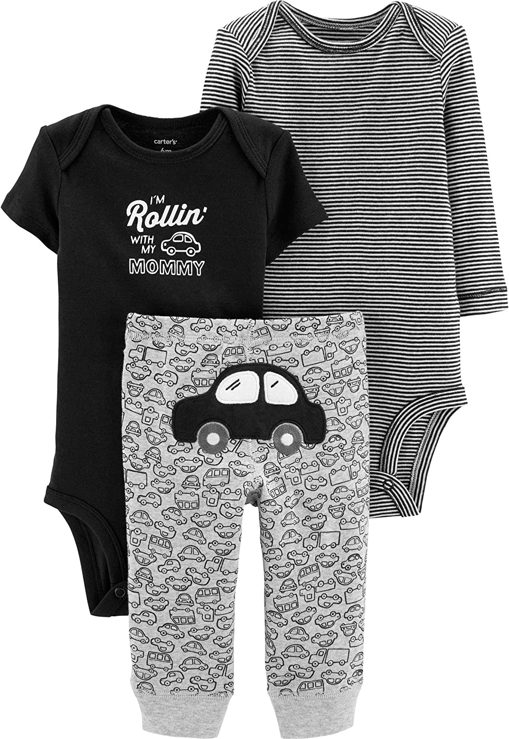 Carter's Baby Boys' 3-Piece Little Character Sets (Black/Rollin', 9 Months)