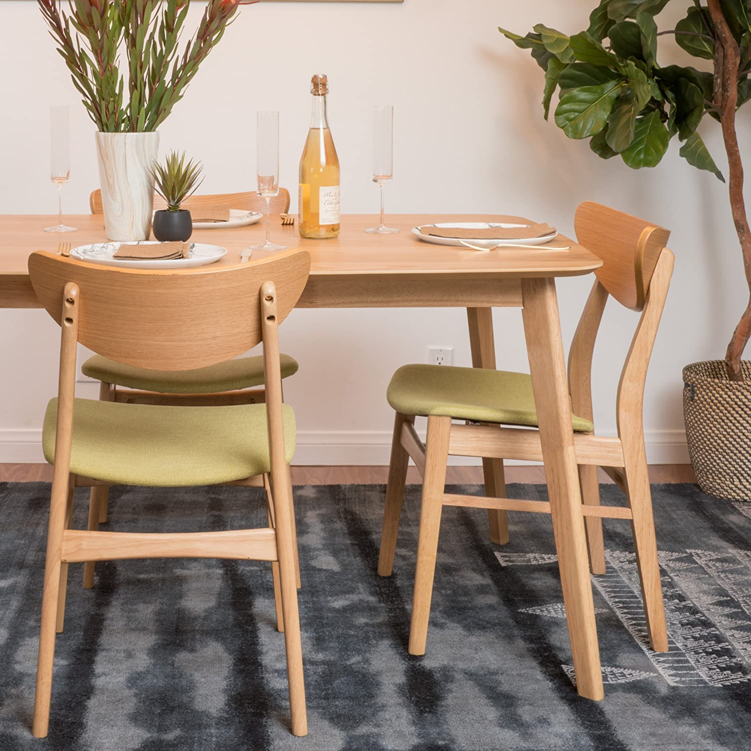 Christopher Knight Home 298997 Anise Dining Chair (Set of 2), Green Tea