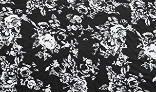 Rayon Spandex Print Fabric Jersey Knit by the Yard Black White Roses on Black