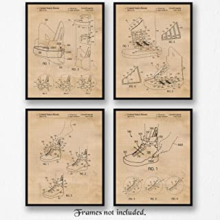 Original Nike Back 2 the Future Shoes Patent Poster Prints, Set of 4 (8x10) Unframed Photos, Wall Art Decor Gifts Under 20 for Home, Office, Garage, Man Cave, Student, Teacher, Comic-Con & Movies Fan