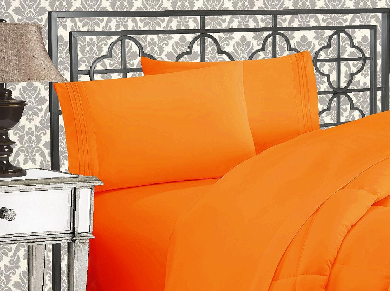 Elegant Comfort Luxurious 1500 Thread Count Egyptian Quality Orange Bed Sheet