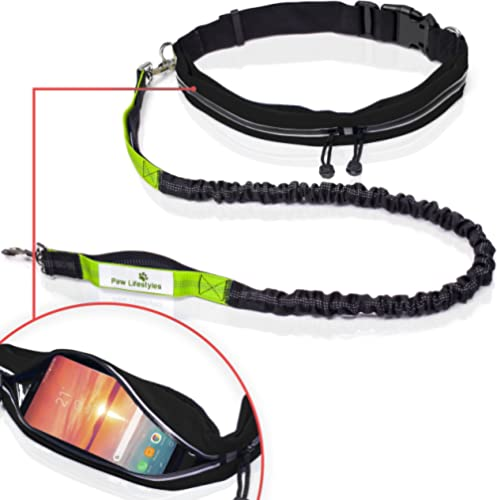 Paw Lifestyles Retractable Hands Free Dog Leash W/Smartphone Pouch – Dual Handle Bungee Waist Leash for Up to 150 lbs...