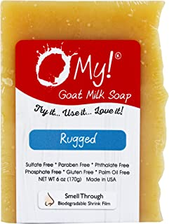 O My! Goat Milk Soap :: All Natural Hand, Face & Body Soap, 6 Oz. Bar :: Handmade in USA with Farm Fresh Goat's Milk :: Lightly Scented, Non Drying, Cruelty Free, Rugged