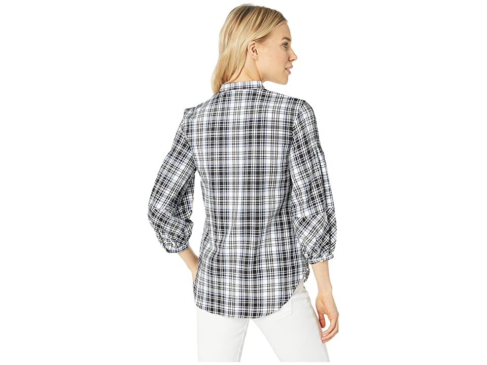 LAUREN Ralph Lauren Plaid Twill Puff-Sleeve Shirt (Black/White Multi) Women's Clothing