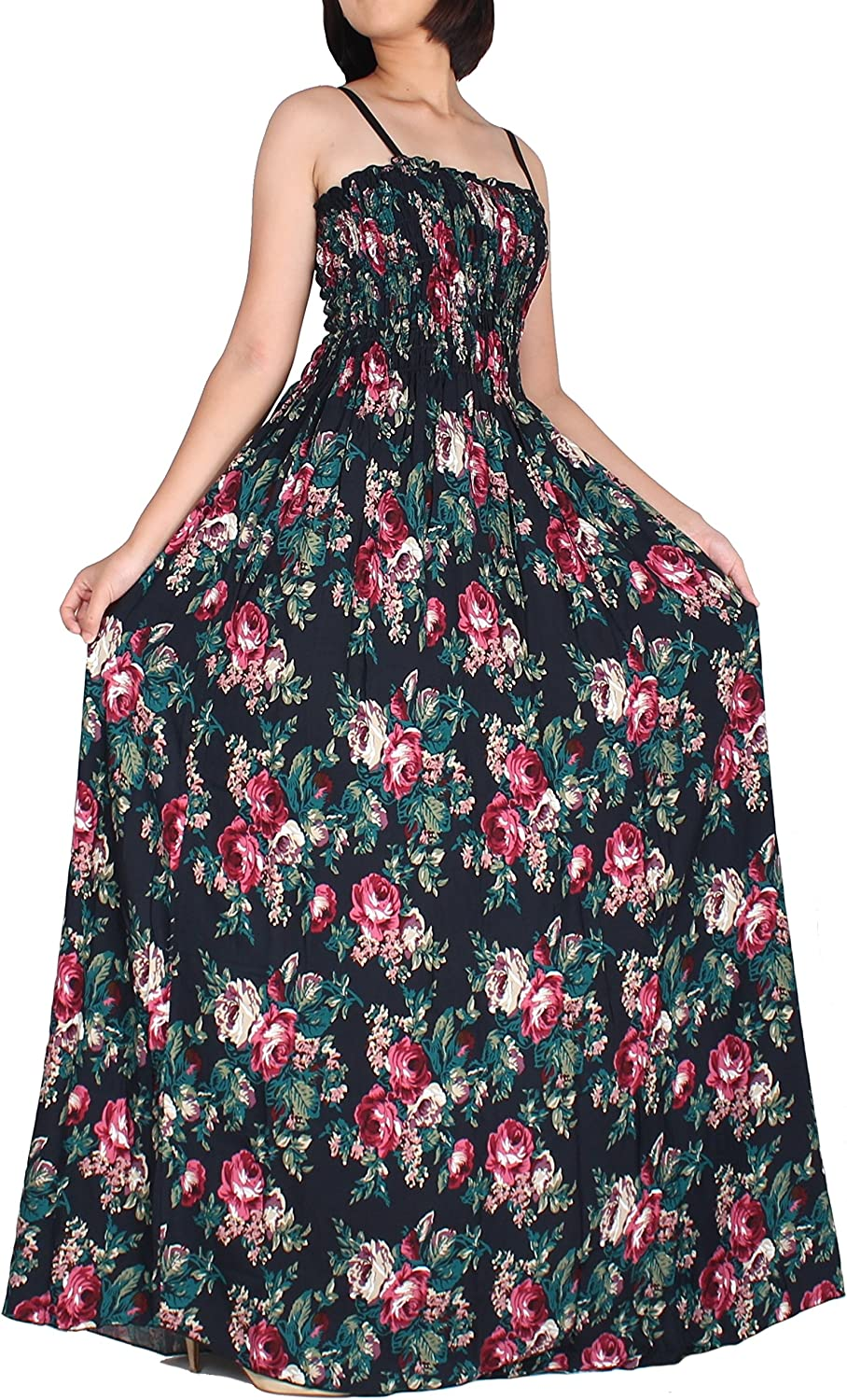 The WomenLand Women Maxi Dress Plus Size Floral Classic Vintage Look Navy Party Flare Boho