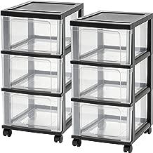 IRIS NC-3 3-Drawer Narrow Cart, Black, 2-pack