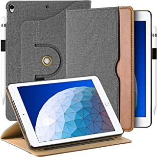 EasyAcc Case for iPad Air 3 2019/ iPad Pro 10.5, [360 Degree Rotating/ 100% PU Leather Made by Hand] and Document Card Slots, with Auto Wake/Sleep, Durable to Use - Grey