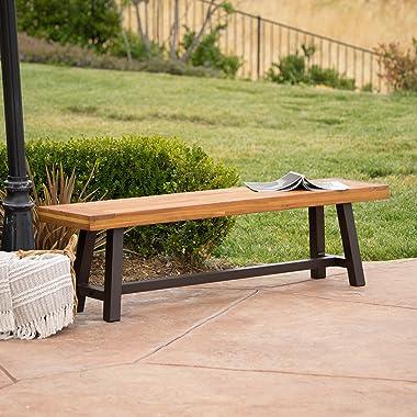 Christopher Knight Home Carlisle Outdoor Acacia Wood and Rustic Metal Bench, Sandblast Finish / Rustic Metal