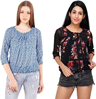 5db995a3c39fcd Acanthus Women's Blue Dot/Black Floral Printed Balloon Tops Combo (Pack of  2)