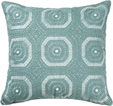 """Lominc Embroidered Geometry Cotton Decorative Throw Pillow Cover Cushion Case Pillow Case Square 18""""X18"""" for Sofa, Couch, Bedroom, Ideal for Home/Office/Hotel Decor"""