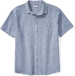 Amazon Essentials Men's Big & Tall Short-Sleeve Linen Cotton Shirt fit by DXL