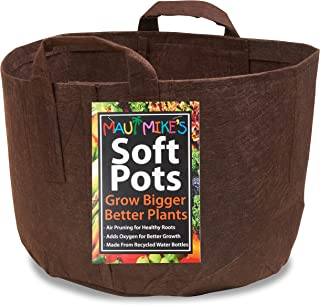 Soft POTS (5 Gallon) (10 Pack) Best Aeration POTS and Grow Bags from Maui Mike's. Made from Recycled Water Bottles and Hem...