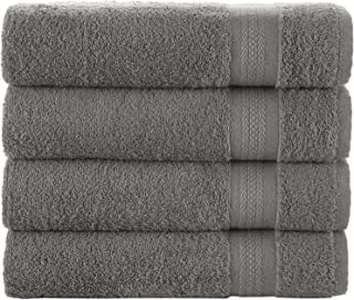 Hammam Linen HL Luxury Hotel & Spa Bath Towel Turkish Cotton Bath Towels - Dark Grey - Set of 4 27 x 52