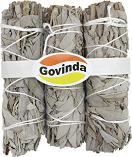 Govinda Premium California White Sage Smudge Sticks, 4 Inch Long, Pack of 3