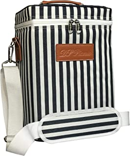 DS Picnic Insulated Wine Tote Bag Wine Bottle Carrier 4 Bottle Capacity Cooler Bag for outdoor Camping Great Wine Lover Gift with Handle and Adjustable Shoulder Strap (White & Navy Stripe)