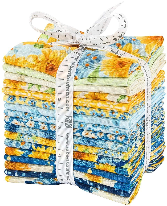 Rebecca BAER Gardenside Path Fat Quarter Bundle 17 Precut Cotton Fabric Quilting FQs Assortment Robert Kaufman FQ-1411-17