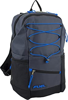 Fuel Travel Lightweight Bungee Backpack, Durable for School, Gym or Work (Graphite Gray/Royal Blue Bungee)