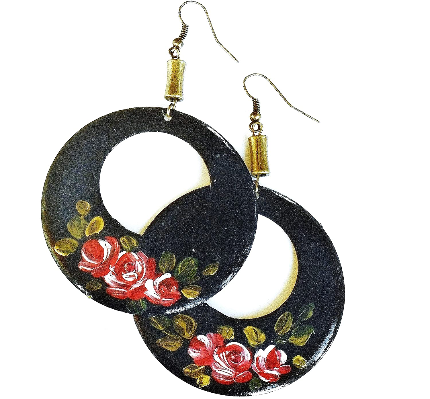 Large Store Black Hoop Earrings with Hand Roses and Painted Sparkl Red